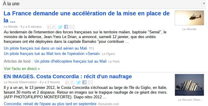 La une de Google News en reprend que le titre et une courte introduction des quotidiens