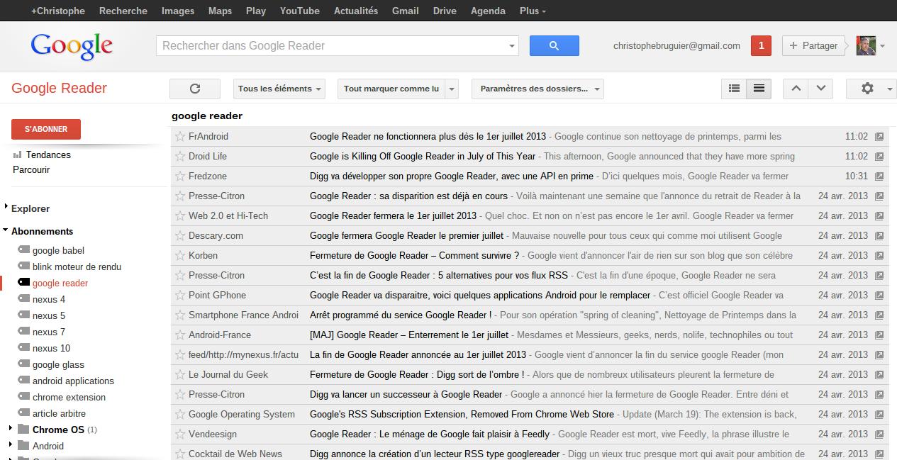 Mes flux RSS, des centaines de blogs en ont parlé !