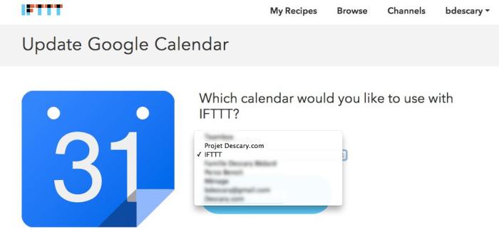 ifttt-choisir-calendrier-google-agenda