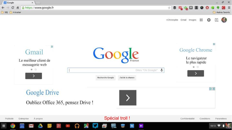 page accueil chrome